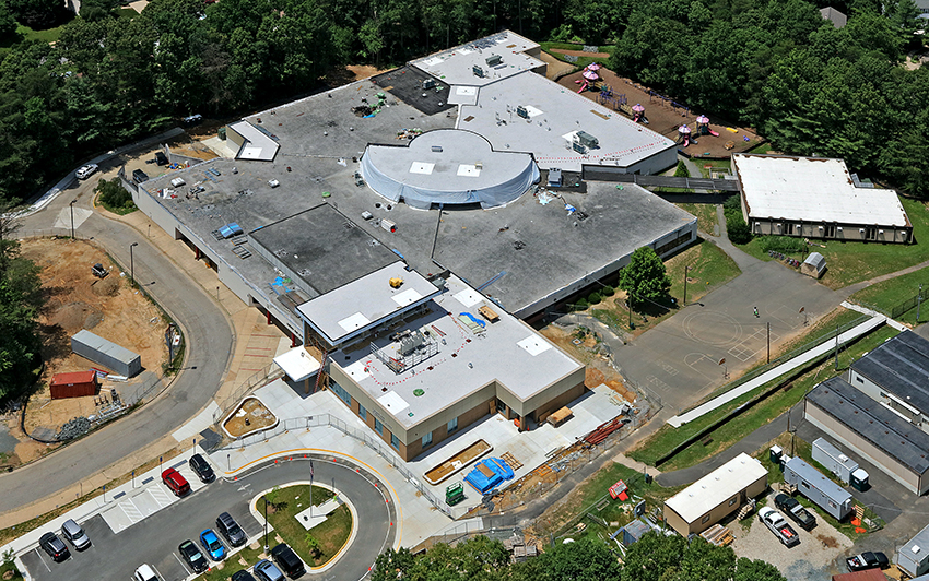 Aerial view of Cherry Run Elementary School during renovation.