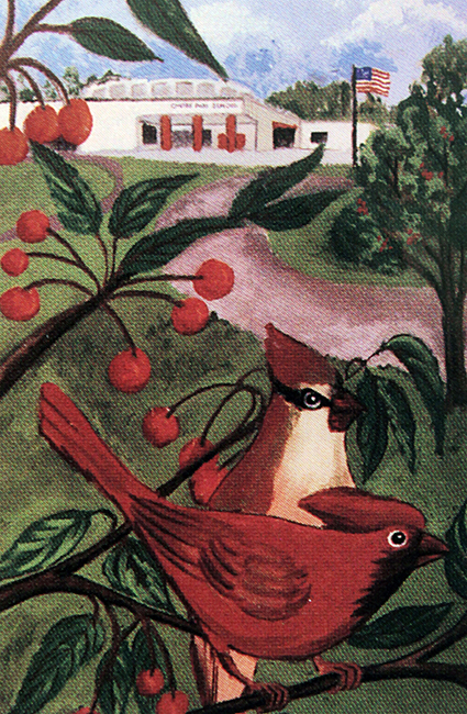 Photograph of a painting of two cardinals sitting on the branch of a cherry tree in front of Cherry Run Elementary School.