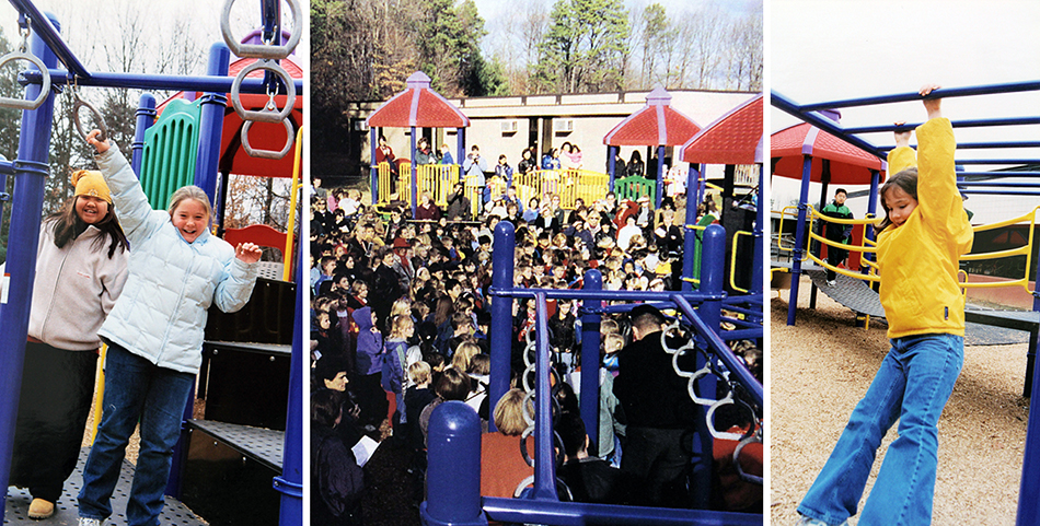 Three photographs of students and the new playground. The center photograph was taken during the playground's dedication. A large group of students is standing on the playground listening to a speech.