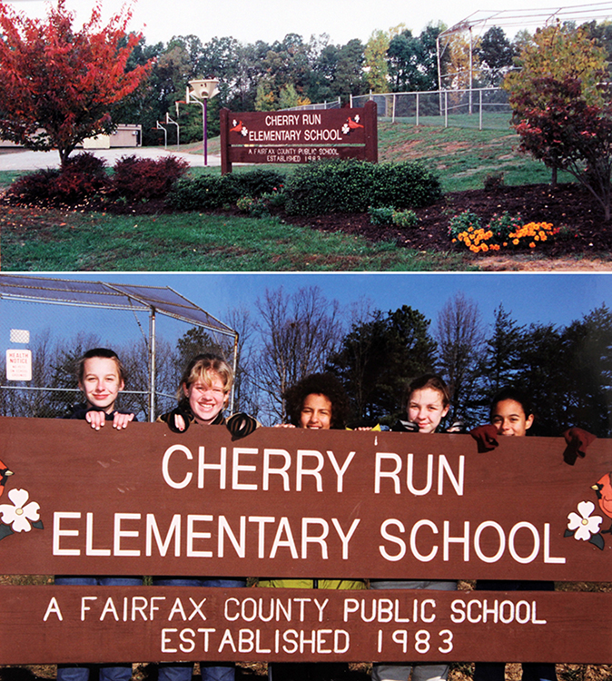 Two photographs of a large wooden sign that reads Cherry Run Elementary School, A Fairfax County Public School, Established 1983. Flanking the name Cherry Run are two cardinals, perched on cherry tree branches.