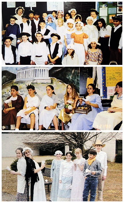 Three photographs from the 2002 to 2003 yearbook showing students posing during Colonial Day, Greek Day, and Pioneer Day.